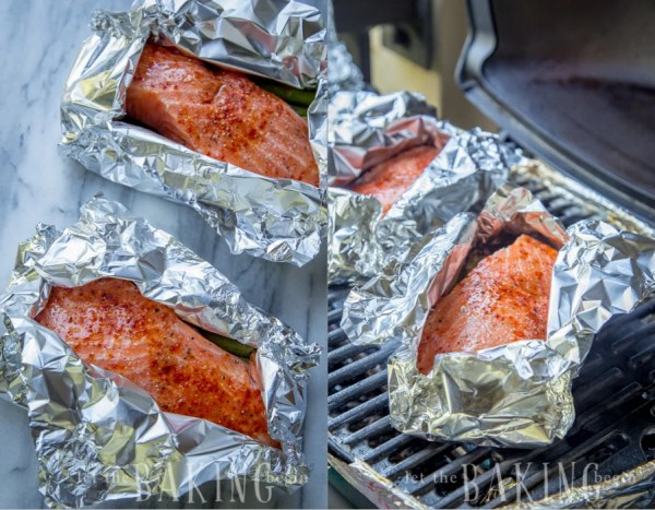 Wrapping the salmon and asparagus in foil and cooking it on a grill.