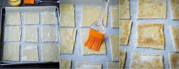 How to transfer the puff pastry squares to a parchment lined baking sheet and brush the squares with egg wash and sprinkle with cast sugar.