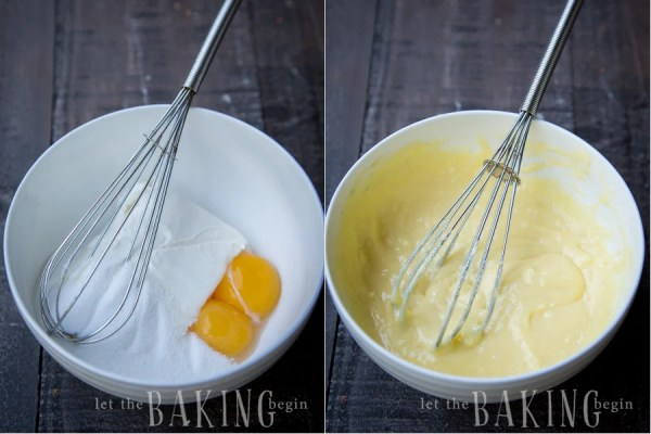 How to make cream cheese mixture by combining cream cheese, sugar, egg yolks, and cornstarch together with a whisk in a bowl.