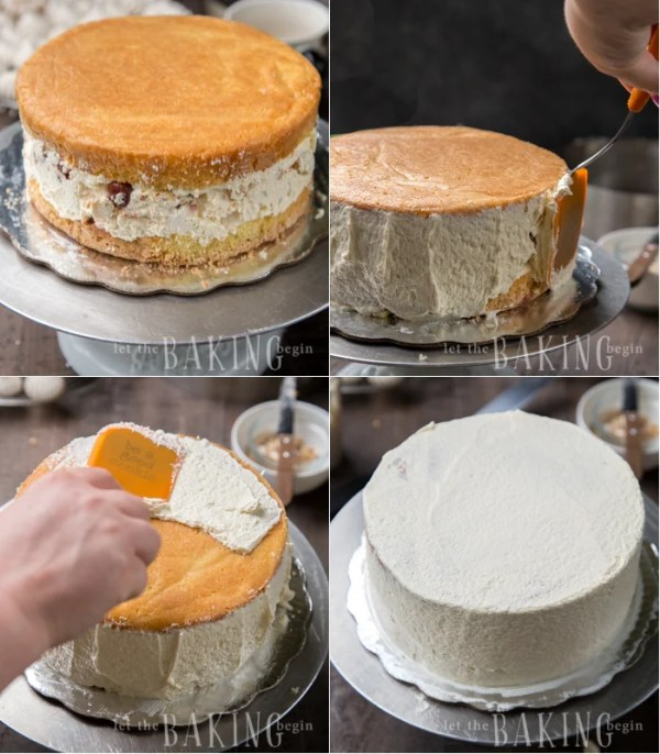 How to take out cake ring and use the remaining buttercream to smooth out edges on top of the cake.