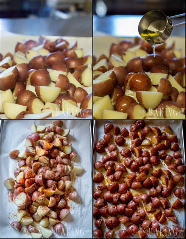 Sliced breakfast potatoes on a baking sheet being drizzled with olive oil and seasoning.