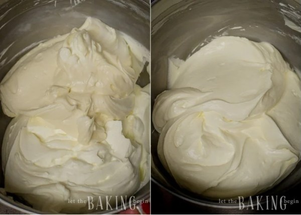 Combining all the mixtures to make creamy sour cream frosting.