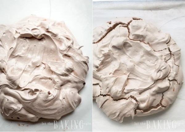 Chocolate Pavlova is shaped and baked on parchment paper.