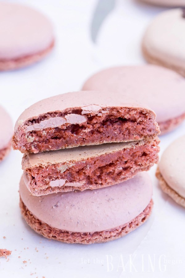 Perfect no hollow macaron shells for the White Chocolate Raspberry macarons.