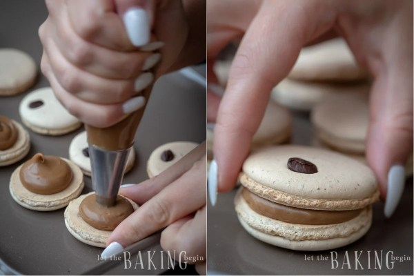 Filling the Coffee Macarons with Coffee ganache.