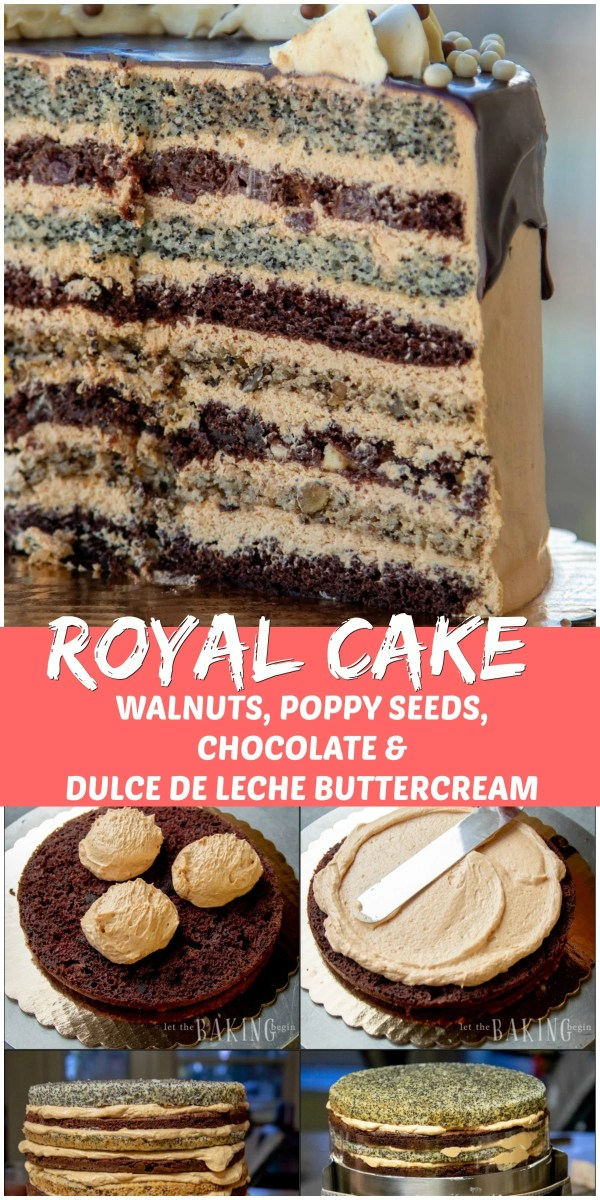 Russian Royal Cake (Korolevskiy Cake)- Layers of walnut, poppyseed, cherry and chocolate cakes frosted with Dulce De Leche Buttercream and drizzled with chocolate.
