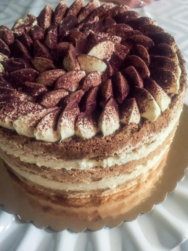 Tiramisu cake without lady-fingers topped with cocoa.