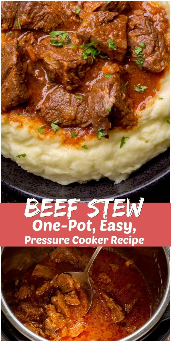 One Pot Easy Beef Stew is an ultimate comfort food dinner. Cooking the Stew in an Instant Pot gives you all the flavors of the low and slow cooking, but at the fraction of the time. Simple ingredients, simple instructions and 10 minutes of your time is all that's needed to make this delicious beef stew dinner.