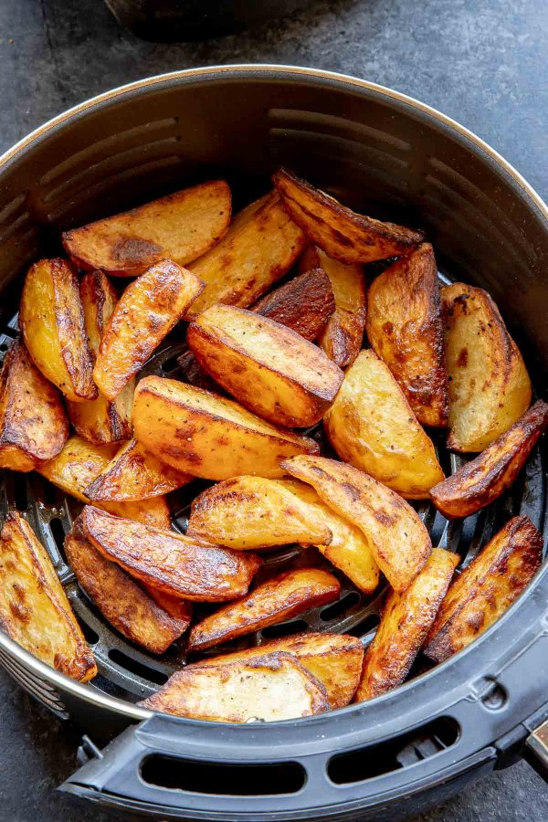 Crispy Roasted Potatoes can be reheated in the air fryer or the oven.