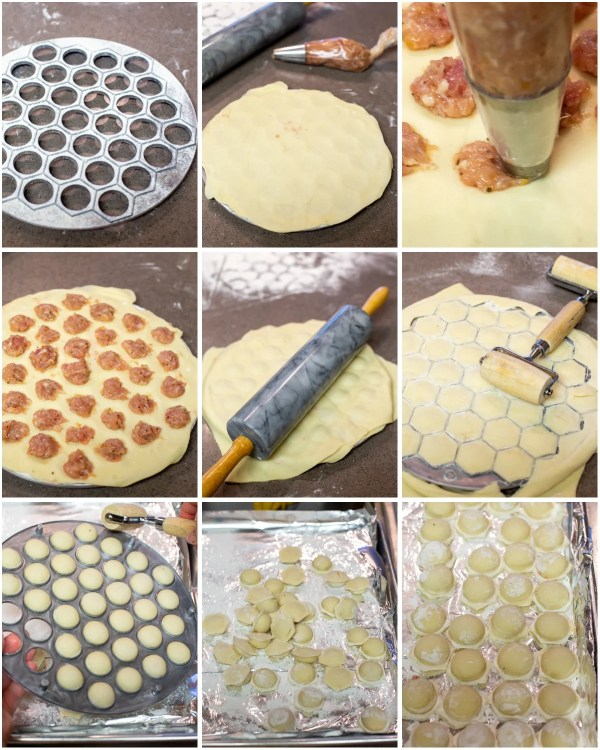 Making homemade pelmeni dough with a Russian dumpling mold.
