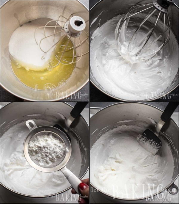 Visual instructions for how to make the meringue base for a pavlova recipe.