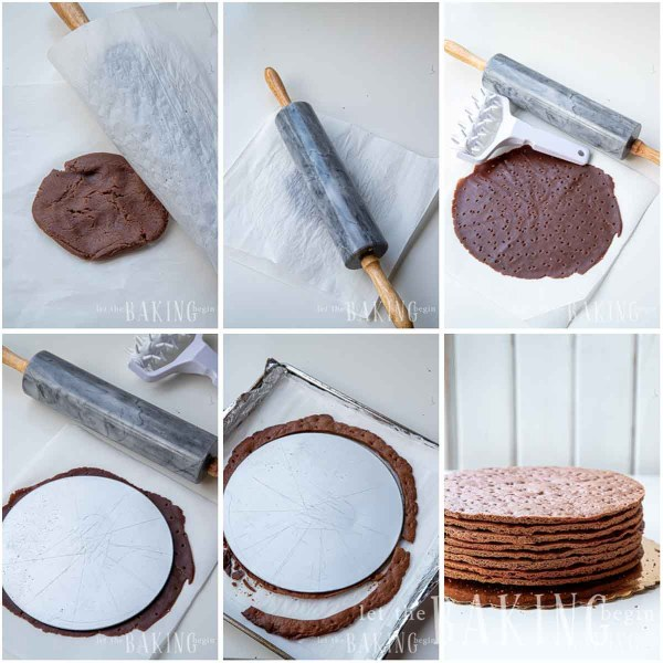 Visual instructions for how to make chocolate spartak layers and ensure they are the same size and shape.