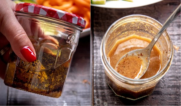 Easy homemade Greek salad dressing in a jar
