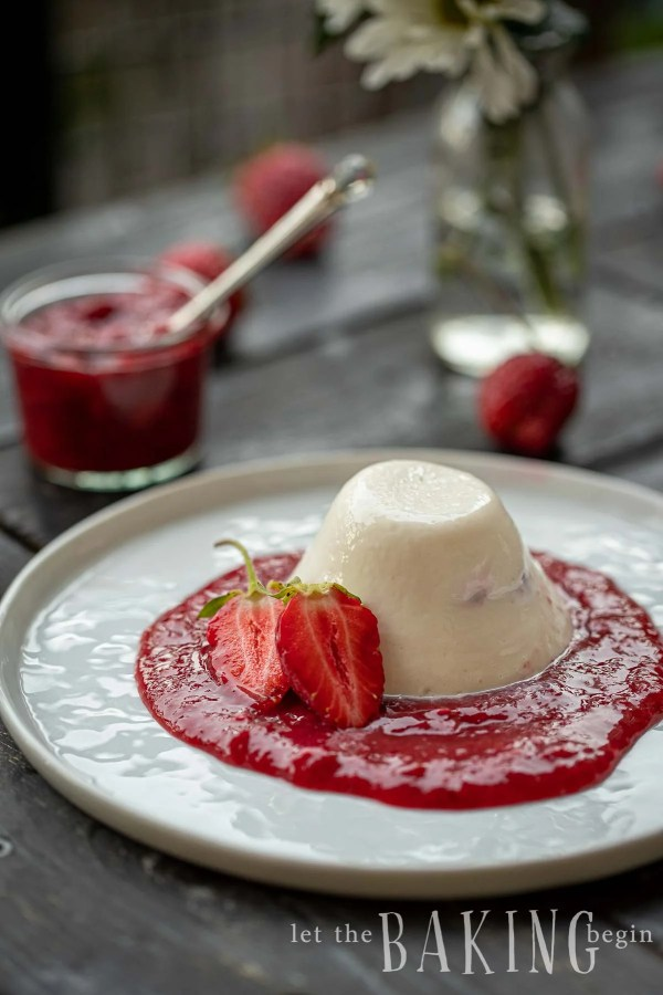 Vanilla panna cotta in a dome on a plate surrounded by homemade strawberry sauce.
