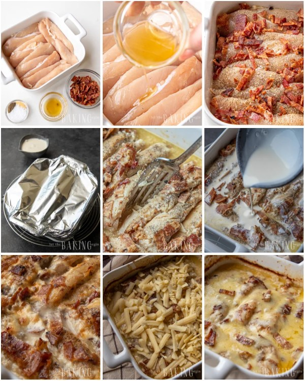 Step by step visual directions for chicken bacon casserole