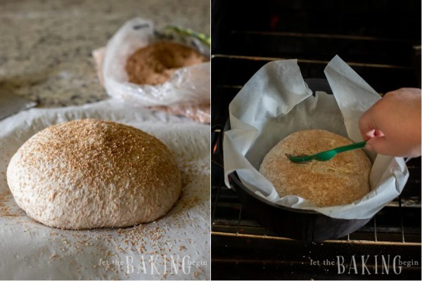 No-knead bread cooking in oven