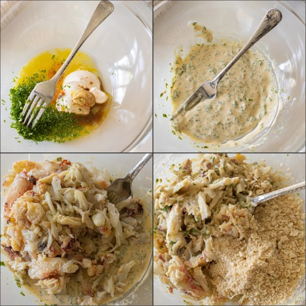 Visual step by step directions for how to make crab cakes