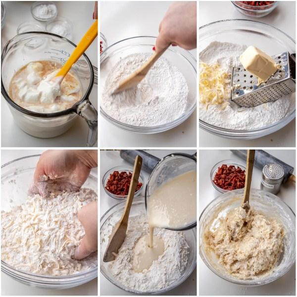 visual step by step directions for making strawberry scone batter.