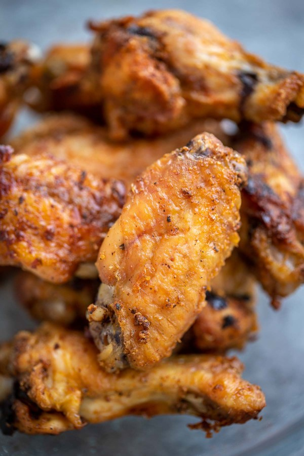 Close up of the crispy skin on a baked wings recipe