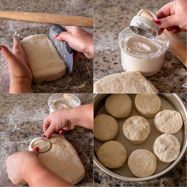 The process of cutting the biscuits out with a biscuit cutter.