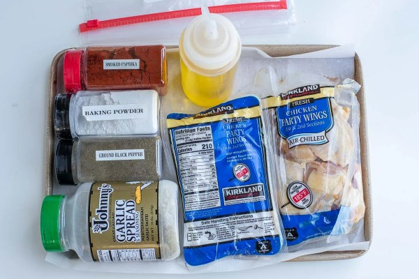 Ingredients for crispy baked chicken wings