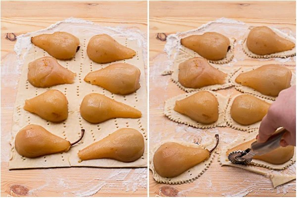 How to place pears on puff pastry and cut out pastries with a pizza cutter.