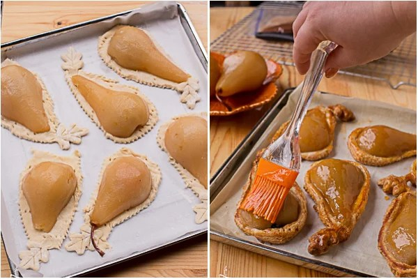 How to place pastries on a parchment lined baking sheet.