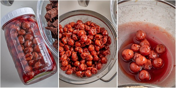 Step by step process of soaking the cherries in liquor.