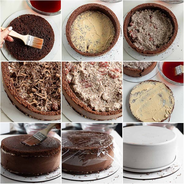 Step by step process of assembling the chocolate cherry cake.