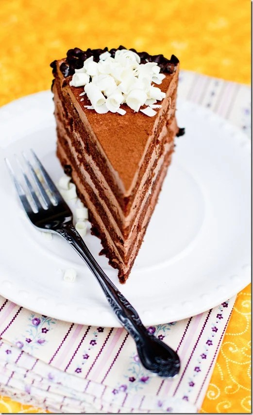 """Chocolate cake filled with Chocolate Custard Buttercream. A classic Russian cake by the name """"Prague"""".  by Letthebakingbeginblog.com   @Letthebakingbgn"""