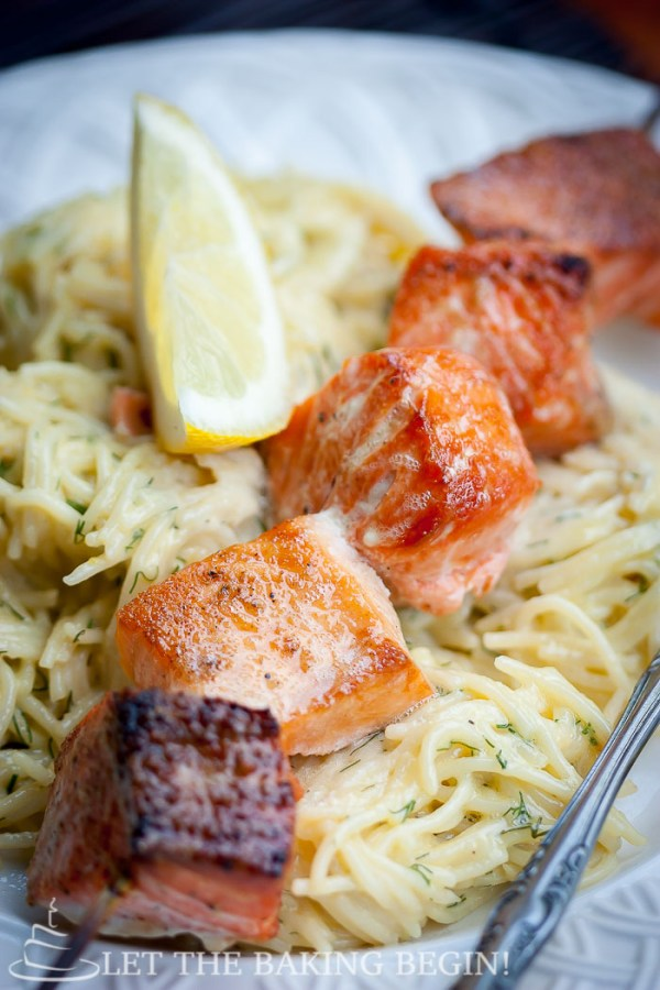Oven Grilled Salmon Kabob & Creamy Dill Pasta -  Juicy salmon kabobs without turning on the grill? Count me in! by LetTheBakingBeginBlog.com | @Letthebakingbgn