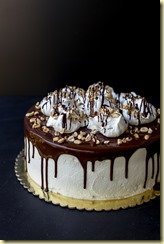 Kiev Cake - a layer of peanut meringue, sandwiched between two cake layers. All frosted with Russian Buttercream.