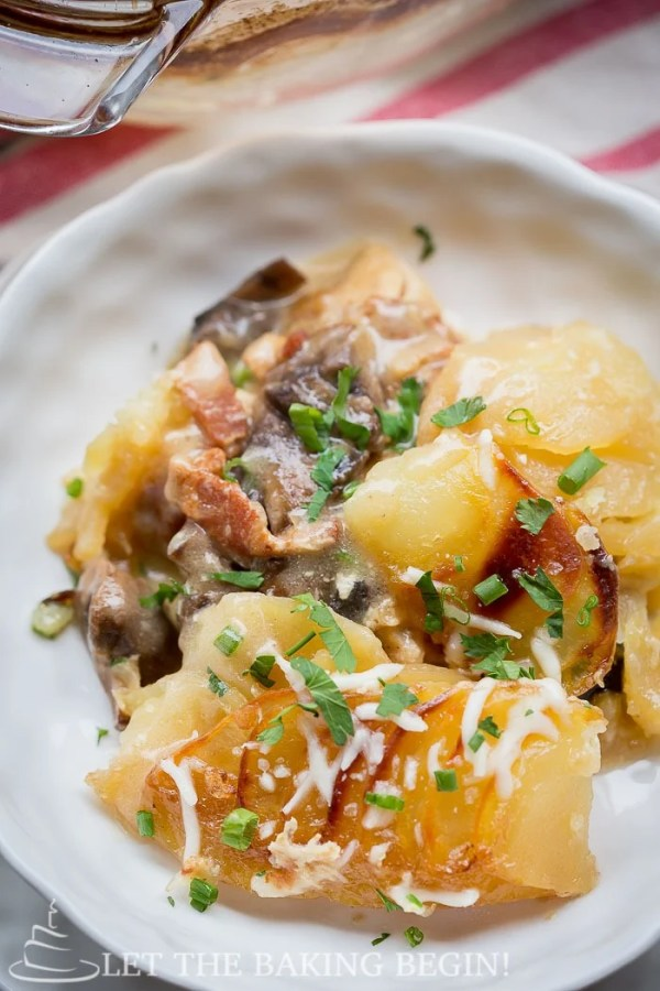 Chicken Mushroom & Potato Casserole – my whole family enjoys this delicious comfort food dish that's as delicious as it is fancy.   LetTheBakingBeginBlog.com   @Letthebakingbgn