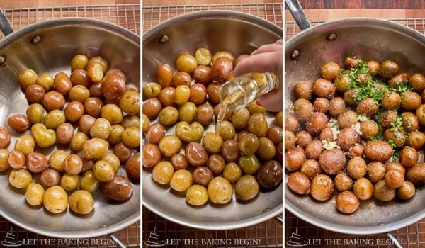 Pan Seared Parmesan Little Potatoes - I like to make these potatoes for an after church lunch, since they come together quickly and my whole family loves how creamy and flavorful they are | LetTheBakingBeginBlog.com | @Letthebakingbgn