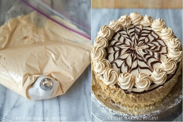 Chocolate Kiev Cake -Soft Chocolate Sponge cake layers are filed with Light Dulce de Leche Buttercream and Chocolate Walnut Meringue to make a Chocolate version of the most iconic Ukrainian Kiev Cake - By Let the Baking Begin Blog - @Letthebakingbgn