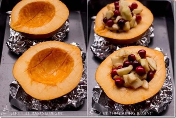 Acorn Squash with Apple Cranberry Stuffing & Walnut-Oat Crumble  by LetTheBakingBeginBlog.com @Letthebakingbgn