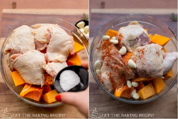 One Pan Chicken and Butternut Squash - super easy, super simple and super delicious! My new favorite fall dinner recipe! by LetTheBakingBeginBlog.com @Letthebakingbg