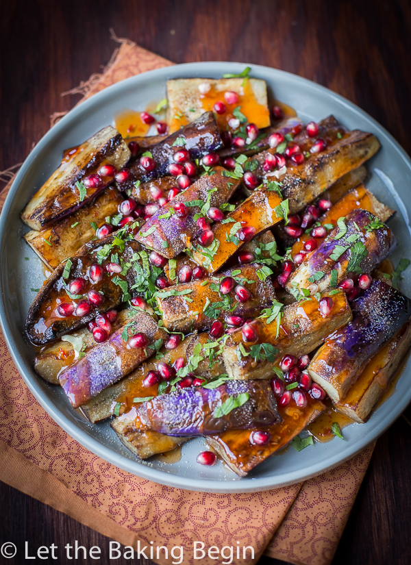 Sweet and Sour Garlicky Chinese Eggplant - Pan fried eggplant in a simple Sweet and Sour Garlic Sauce and herbs.   By Let the Baking Begin!