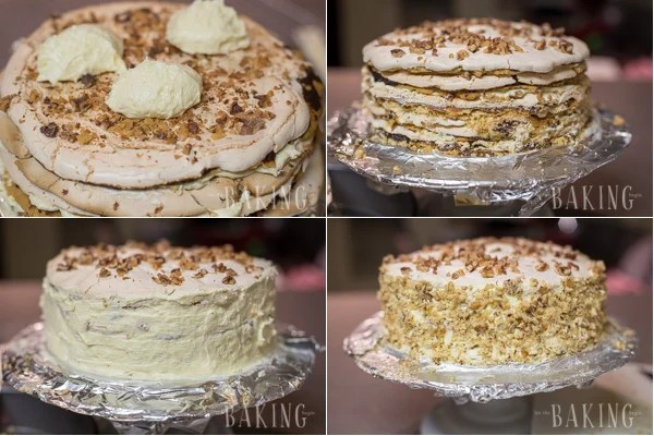 Holiday Cake - Shortbread Cake layers lined topped with plum butter, walnuts, meringue, and Custard Buttercream   by Let the Baking Begin!