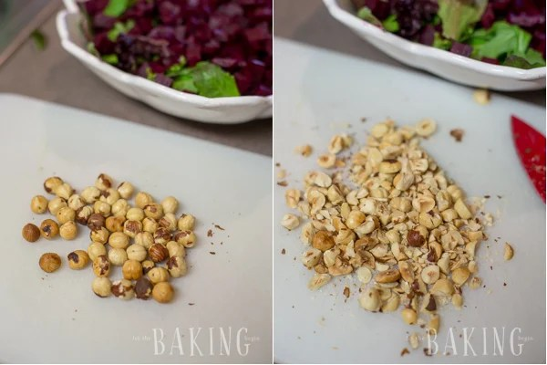 Beet and Feta Salad - refreshing but hearty salad of roasted beets, baby greens, creamy crumbled feta, roasted hazelnuts and a nice vinaigrette | by Let the Baking Begin!