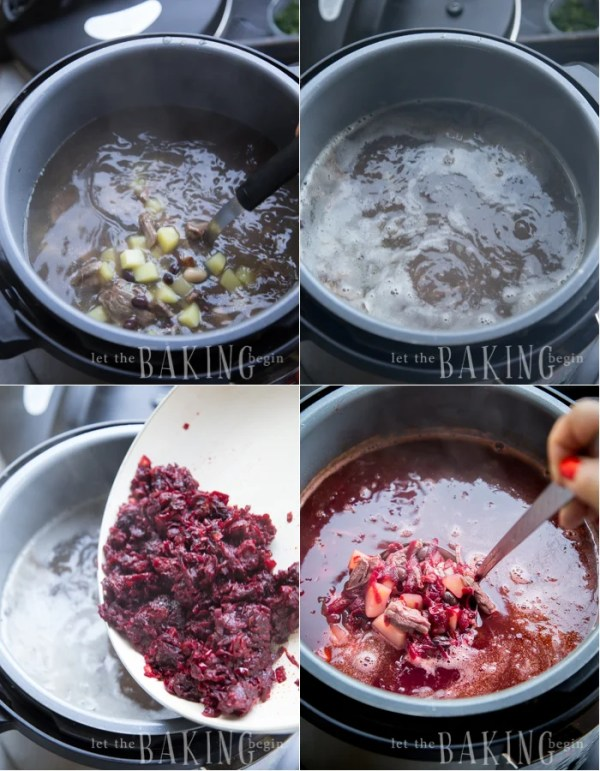 Borsch - Beef and Beet Soup is a traditional Ukrainian soup that is hearty, healthy and delicious! | By Let the Baking Begin!