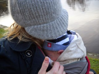 babywearing with a moby wrap
