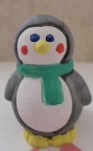 baker Ross ceramic penguin coin bank