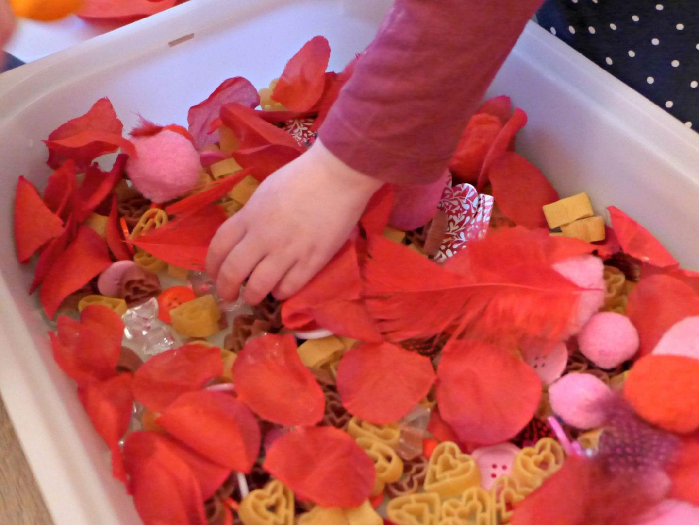 valentines sensory bin