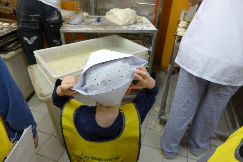 child in the bakery on the tesco farm to fork trail