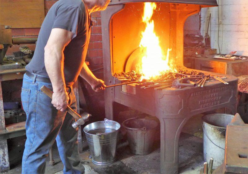 blacksmith working at ellenroad engine house