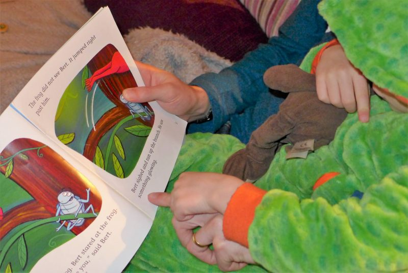 reading chest child reading book