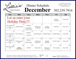 December Dinner Menu 2017 Letties Hockessin