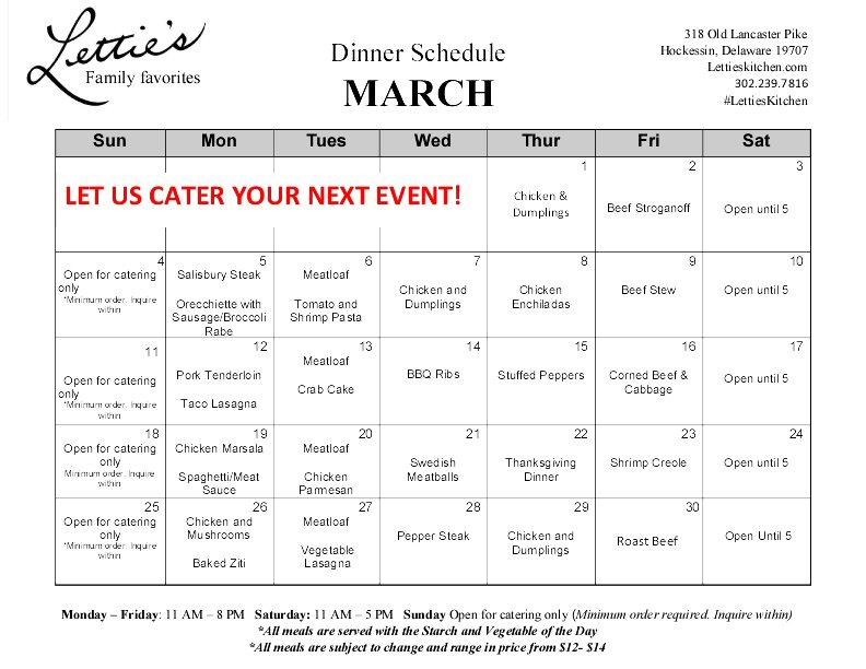March Dinner Menu 2018