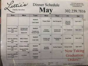 May Menu for Letties Kitchen 2018